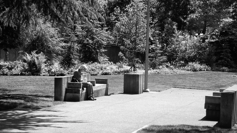 Woman on Bench -- Convention Center Park, Seattle (May 2010)