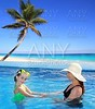 daughter and mother in swimming pool tropical