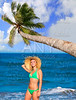 blond tourist girl in a tropical summer beach