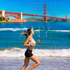 Girl running San Francisco Golden Gate Bridge