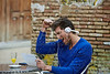 Young man with tablet pc touch listening music
