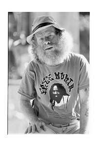 Man on Telegraph Avenue in Mumia Shirt