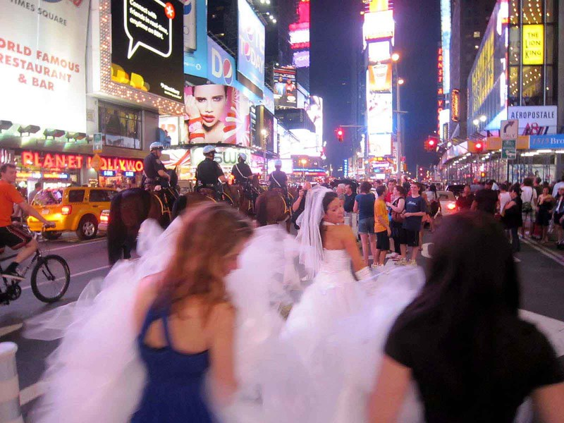 """Looking for Mr. Right""<br /> Video Stills of Performance<br /> Several day search around Manhattan wearing an 80-foot long wedding dress.<br /> July 2010"