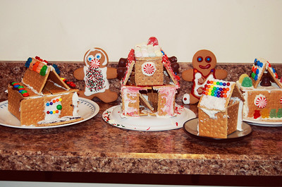 We had a Gingerbread Party at Daniela's tonight for her birthday. Here is some of our awesome village. Andrew worked on the house on the left. Emily worked on the house on the right.