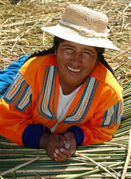 Uros Woman<br /> Uros Floating Islands<br /> Puno, Lake Titicaca