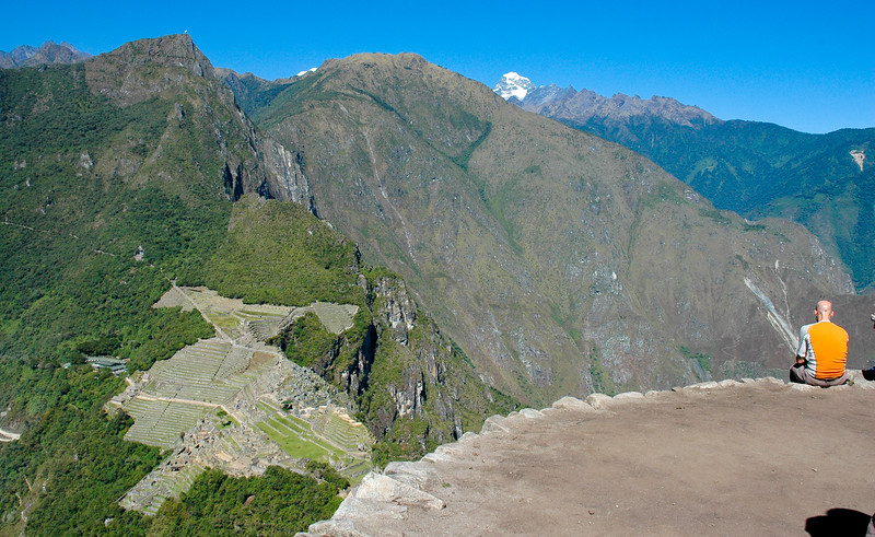 View of Machu Picchu from the mountain peak of Huayna Picchu.