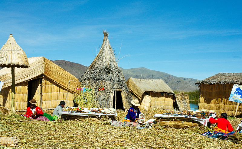 The Uros:  Pre-Incan people that live on the self-made Floating Uros Islands on Lake Titicaca.  The islands are fashioned from totora reeds, and the people believe they are the true owners of the lake.  The purpose of the island settlements was originally defensive, and if a threat arose from the Inca and Colla cultures, the Uros' island homes could easily be moved.