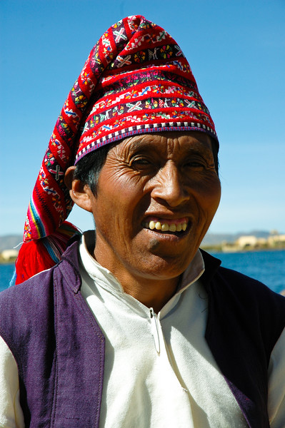 Uros Man<br /> Uros Floating Islands<br /> Puno, Peru