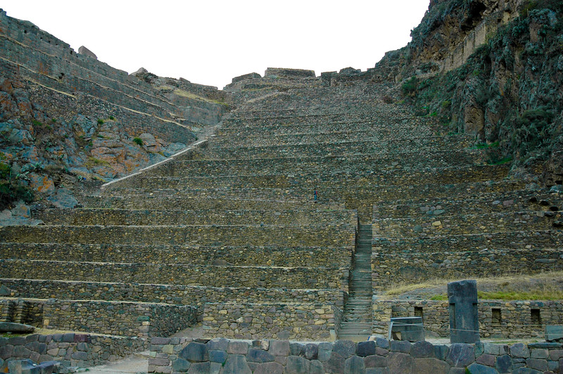 "Inca Ruins<br /> Terraces of Pumatallis<br /> Ollantaytambo<br /> <br /> ""In 1536, this settlement was the site of the Inca's greatest military victory over the invading Spaniards. Today, it is one of the only towns in Peru that retains its original Inca walls and street grid, dominated by long, ancient stone walls that once divided groups of homes around communal courtyards. An imposing set of stone terraces (from which the Inca assaulted their Spanish invaders with slingshots and arrows), capped by six enigmatic slabs of pink granite, looms above the town."" -National Geographic"