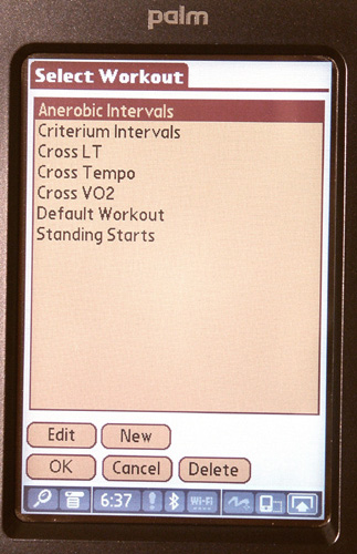 One can create a workout plan or select one that has been previously created.