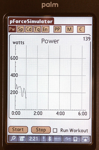Power is displayed as a function of time or distance.