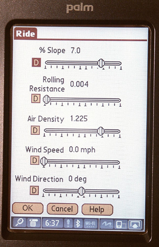 Slope, rolling resistance, air density, wind speed, and wind direction can be set for the modeled conditions.