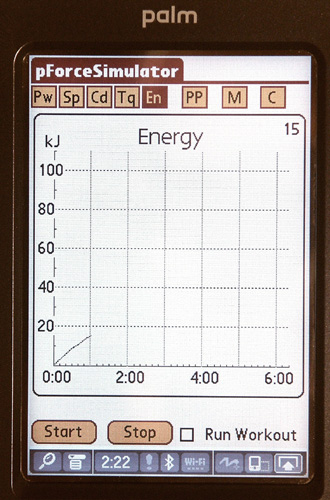 Energy is displayed as a function of time or distance.