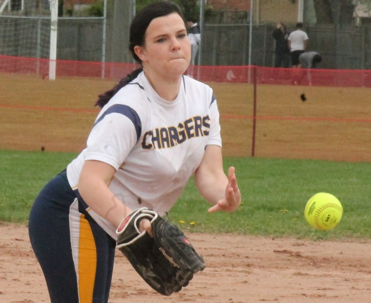 Katelin Schneider pitches for the host Crestwood Chargers on Friday afternoon against  Dearborn High. The Chargers were defeated 18-1 in three innings. (MiPrepZone photo gallery by Terry Jacoby)