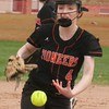 Pitcher Kristen Thompson of Dearborn High held the host Crestwood Chargers to one run on Friday. The Pioneers ultimately defeated the Chargers 18-1 . (MiPrepZone photo gallery by Terry Jacoby)