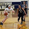 Crestwood's Demi Rodriguez (21) puts it on the deck and aggressively goes towards the net on Friday night. The Chargers went on to a 54-38 victory over visiting Edsel Ford.  (MIPrepZone Photo Gallery by Alex Muller)