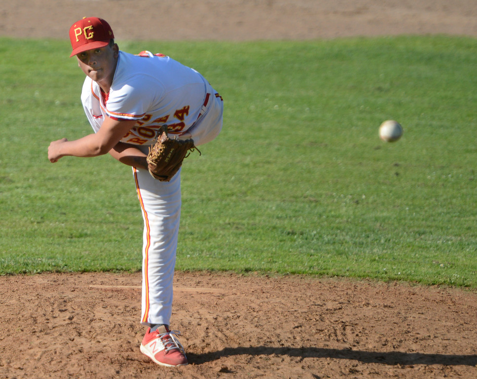 . Pacific Grove\'s Kevahn Ebron pitches against Carmel during baseball at Pacific Grove High School on Wednesday April 19, 2017. PG won the game 4-3. (David Royal - Monterey Herald)