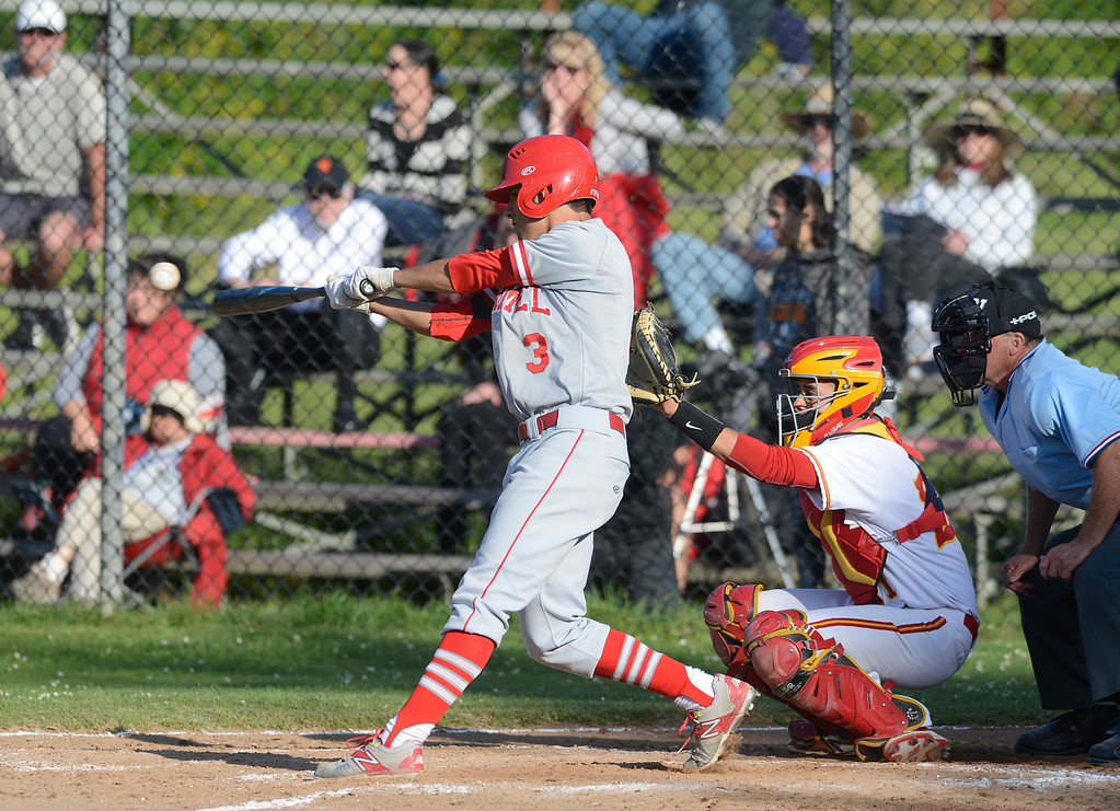 . Carmel\'s Stevan Enriquez connects with the ball during baseball at Pacific Grove High School on Wednesday April 19, 2017. PG won the game 4-3. (David Royal - Monterey Herald)