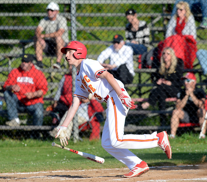 . Pacific Grove\'s Connor Marshall tracks a hit against Carmel during baseball at Pacific Grove High School on Wednesday April 19, 2017. PG won the game 4-3. (David Royal - Monterey Herald)