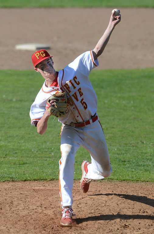 . Pacific Grove\'s Hunter Hanes pitches against Carmel during baseball at Pacific Grove High School on Wednesday April 19, 2017. PG won the game 4-3. (David Royal - Monterey Herald)