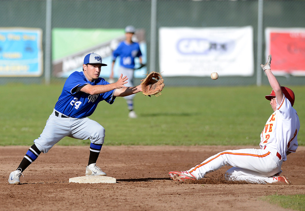 . Monte Vista Christian\'s Brian Cosimano forces Pacific Grove\'s Colby Burnell out at second base during baseball in Pacific Grove on Wednesday April 12, 2017. (David Royal - Monterey Herald)