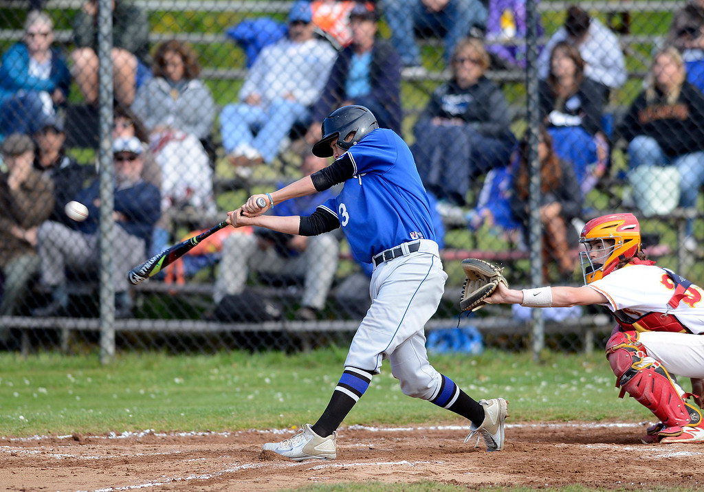 . Monte Vista Christian\'s Jacob Beardsley connects with the ball during baseball in Pacific Grove on Wednesday April 12, 2017. (David Royal - Monterey Herald)