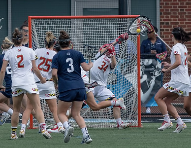 Maryland's Megan Taylor stops 14 Penn State shots on goal in the Big10 semi-finals. PHOTO BY MIKE CLARK