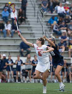 Maryland's Kali Hartshorn (16) gave the Terps an advantage on draws and scored two goals in the Big10 semi-finals against Penn State. PHOTO BY MIKE CLARK