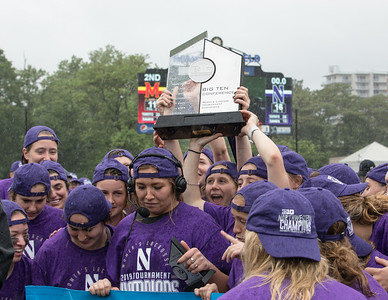 The Northwestern Wildcats celebrate their 2019 Big Ten Conference Tournament Championship with a 16-11 win over top-seeded Maryland. PHOTO BY MIKE CLARK