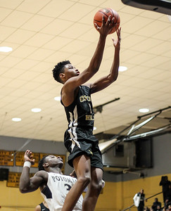 January 11, 2019: Oxon Hill guard Ronald Polite (1) goes for a layup during HS boys basketball action between Oxon Hill HS and Potomac HS in Glassmanor. Photo by: Chris Thompkins/Prince Georges Sentinel