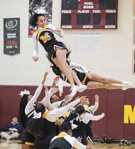 January 4, 2019: McNamara cheerleaders perform halftime routines during HS Boys Basketball action between Paul VI HS and McNamara HS in Forestville. Photo by: Chris Thompkins/Prince George's Sentinel