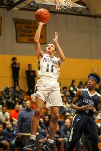 February 22, 2019: Potomac guard Tamir Byrd (11) shoots a shot during HS boys basketball action between Central HS and Potomac HS in Oxon Hill. Photo by: Chris Thompkins/Prince George's Sentinel