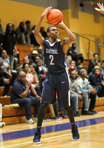 February 22, 2019: Central guard Dominique Mitchell (2) shoots a three pointer during HS boys basketball action between Central HS and Potomac HS in Oxon Hill. Photo by: Chris Thompkins/Prince George's Sentinel