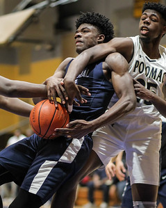 February 22, 2019: Central forward Devonte Young (11) battles Potomac forward Mamadou N'diaye (25) for a rebound during HS boys basketball action between Central HS and Potomac HS in Oxon Hill. Photo by: Chris Thompkins/Prince George's Sentinel