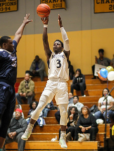 February 22, 2019: Potomac guard Sincere Jones (3) shoots an three pointer during HS boys basketball action between Central HS and Potomac HS in Oxon Hill. Photo by: Chris Thompkins/Prince George's Sentinel
