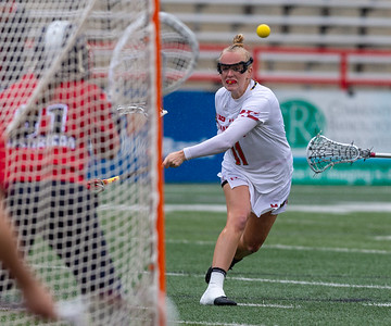 College Park, MD, Sunday, May 12, 2019: Maryland Terrapins Caroline Steele (11) scores on a free position shot during a NCAA Women's Lacrosse second round matchup between Stony Brook and Maryland played at Capital One Field at Maryland Stadium in College Park, MD. (Michael R. Smith/The Prince George's Sentinel).