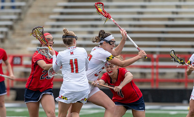 College Park, MD, Sunday, May 12, 2019: Maryland Terrapins Erica Evans (33) powers her way to a goal during a NCAA Women's Lacrosse second round matchup between Stony Brook and Maryland played at Capital One Field at Maryland Stadium in College Park, MD. (Michael R. Smith/The Prince George's Sentinel).