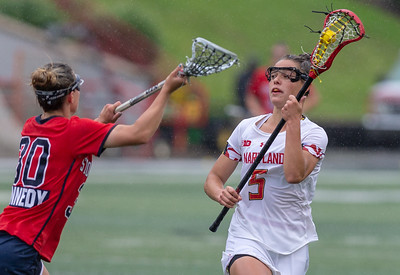 College Park, MD, Sunday, May 12, 2019: Maryland Terrapins Jen Giles (5) in action during a NCAA Women's Lacrosse second round matchup between Stony Brook and Maryland played at Capital One Field at Maryland Stadium in College Park, MD. Giles scored three goals in the Terps 17-8 victory. (Michael R. Smith/The Prince George's Sentinel).