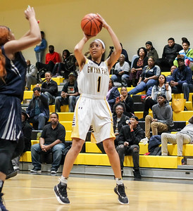 February 7, 2019: Gwynn Park Denai Bowman (1) shoots over an Largo defender during HS girls basketball action between Largo HS and Gwynn Park HS in Brandywine. Photo by: Chris Thompkins/Prince George's Sentinel