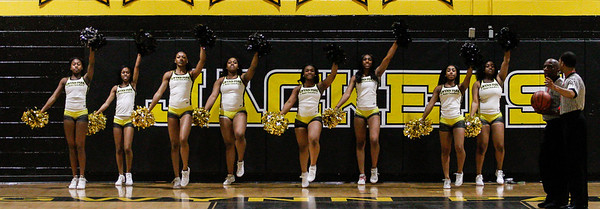 February 7, 2019: Gwynn Park HS cheerleaders performs a cheer routine during HS girls basketball action between Largo HS and Gwynn Park HS in Brandywine. Photo by: Chris Thompkins/Prince George's Sentinel