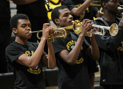 February 7, 2019: Gwynn Park band members perform at halftime during HS girls basketball action between Largo HS and Gwynn Park HS in Brandywine. Photo by: Chris Thompkins/Prince George's Sentinel