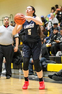 February 7, 2019: Largo guard Vanessa Schwarzmann (5) shoots a three pointer during HS girls basketball action between Largo HS and Gwynn Park HS in Brandywine. Photo by: Chris Thompkins/Prince George's Sentinel