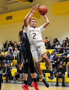 February 7, 2019:Gwynn Park guard Kroix Dale (2) attempts to drive to the basket past Largo guard Vanessa Schwarzmann (5) during HS girls basketball action between Largo HS and Gwynn Park HS in Brandywine. Photo by: Chris Thompkins/Prince George's Sentinel