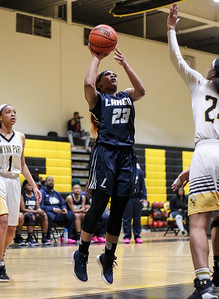 February 7, 2019: Largo guard Johnnae Mathews (23) shoots a jumper during HS girls basketball action between Largo HS and Gwynn Park HS in Brandywine. Photo by: Chris Thompkins/Prince George's Sentinel