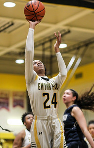 February 7, 2019: Gwynn Park forward Jenae Dublin (24) attempts a shot during HS girls basketball action between Largo HS and Gwynn Park HS in Brandywine. Photo by: Chris Thompkins/Prince George's Sentinel