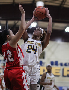 "January 31, 2019: Riverdale Baptist forward Taniyah Greene  (24) shoots over National Christian guard Kaiya Creek (22)  during HS girls basketball action between National Christian Academy and Riverdale Baptist in Upper Marlboro. Photo by: Chris Thompkins/Prince George""s Sentinel"