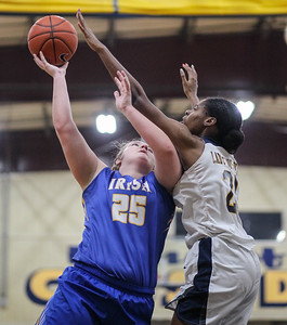 February 16, 2019: Riverdale Baptist forward Rayne Tucker (25) blocks St Joseph forward Hannah Roberts (25) shot during HS girls basketball action between St Joseph Central Catholic HS (WV) and Riverdale Baptist Academy in Upper Marlboro. Photo by: Chris Thompkins/Prince George's Sentinel