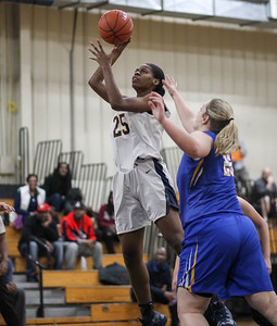 February 16, 2019: Riverdale Baptist forward Rayne Tucker (25) shoots over St Joseph forward Hannah Roberts (25) during HS girls basketball action between St Joseph Central Catholic HS (WV) and Riverdale Baptist Academy in Upper Marlboro. Photo by: Chris Thompkins/Prince George's Sentinel