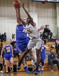 February 16, 2019: St Joseph forward Hannah Roberts (25) blocks Riverdale Baptist forward Rayne Tucker (25) shot during HS girls basketball action between St Joseph Central Catholic HS (WV) and Riverdale Baptist Academy in Upper Marlboro. Photo by: Chris Thompkins/Prince George's Sentinel
