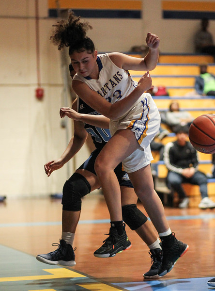 January 25, 2019: Laurel forward Maya Lockett (23) keeps the ball inbounds during high school girls basketball action between Northwestern HS and Laurel HS in Laurel. Photo by: Chris Thompkins/Prince Georges Sentinel